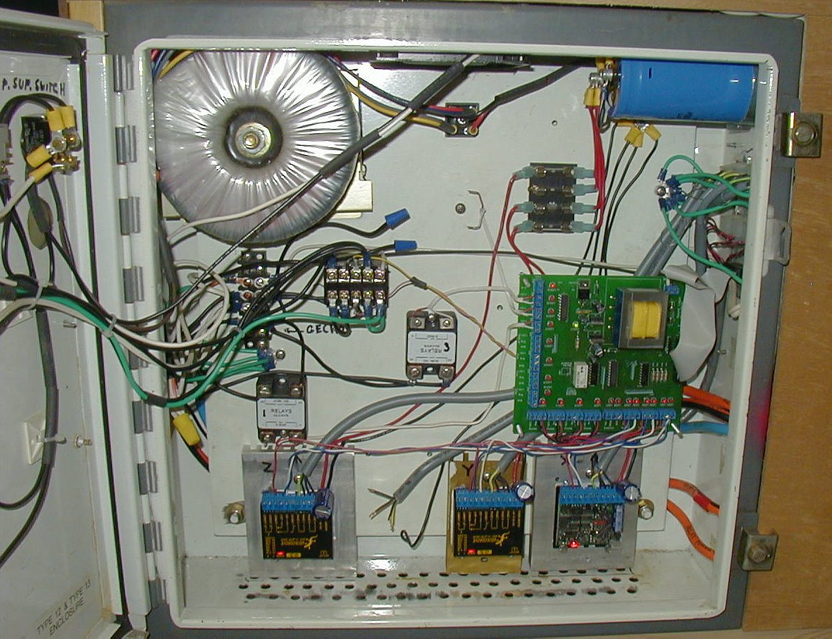 Machine Frame Madvac Cnc Power Wiring Diagram The Controller In Its Full Glory Enclosure Is A Hoffman 24x24x7 From Ebay 50 I Drilled Holes At Bottom For Cooling Air Intake And